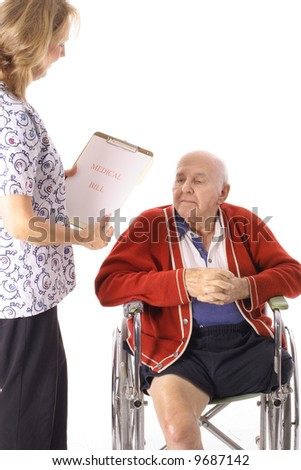 nurse holding medical bill - stock photo