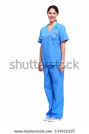 Nurse in uniform with stethoscope isolated on white background - stock photo