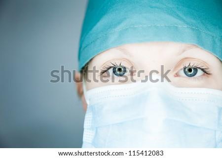 Nurse looking at you (close-up) - stock photo