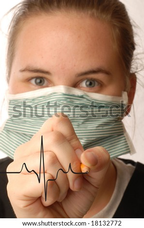 nurse practitioner charting the heartbeat of patient - stock photo