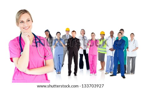 Nurse standing in front of different types of workers on white background - stock photo
