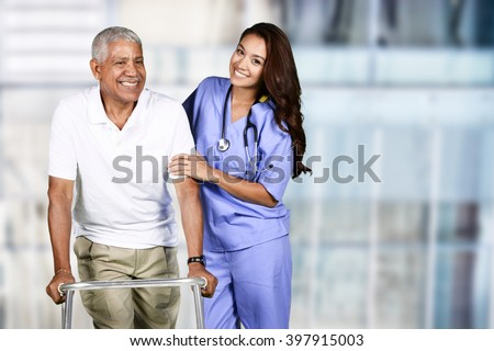 Nurse taking care of an elderly patient - stock photo