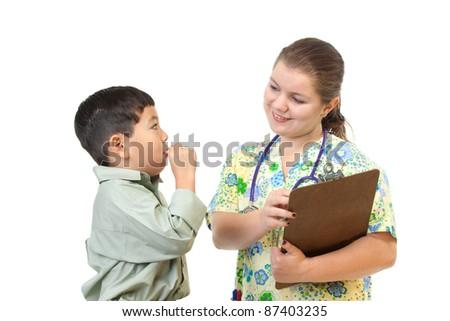 Nurse talks to patient. - stock photo