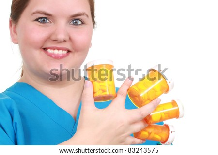 Nurse with a fan of medicines - stock photo