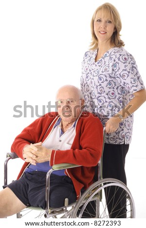 nurse with elderly patient - stock photo