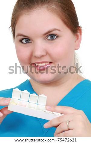 Nurse with medication - stock photo