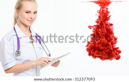 Nurse with the touchpad. Medical tests, examinations, research. - stock photo