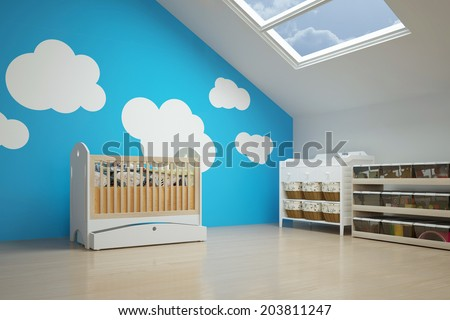 Nursery in the attic with baby crib and other furniture - stock photo