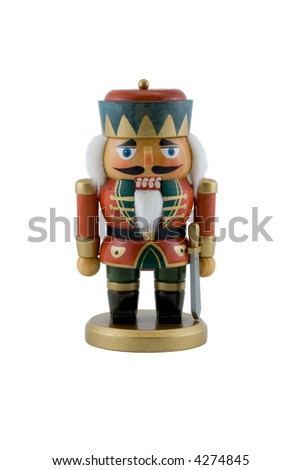 Nutcracker King Isolated on White - stock photo