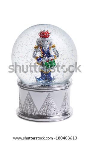 Nutcracker snowglobe cutout, isolated on white background - stock photo
