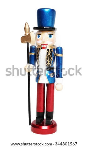 nutcracker soldier isolated on white background - stock photo