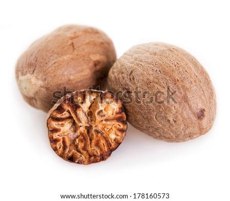 nutmeg isolated on white background - stock photo