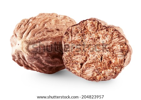 Nutmeg on a white background. Clipping Path - stock photo
