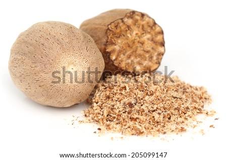 Nutmeg or Jaifal Spice over white background - stock photo
