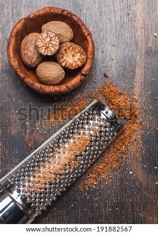 Nutmegs grated  - stock photo