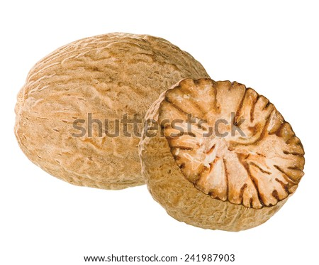 nutmegs isolated - stock photo