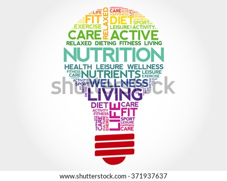 Nutrition bulb word cloud, health concept - stock photo