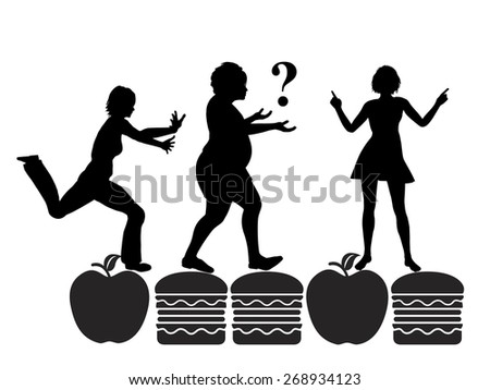 Nutrition Counseling. Humorous concept sign of a dietician on her daily duty to motivate and advise people with overweight to live a healthy life - stock photo