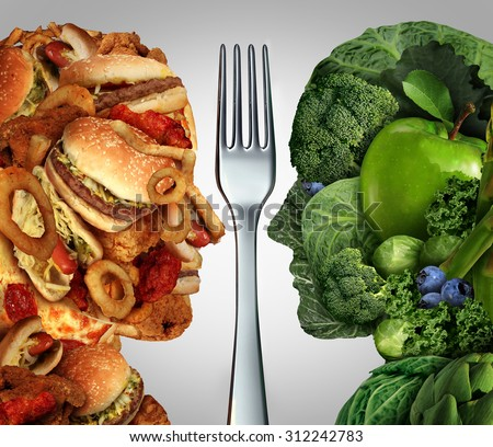 Nutrition decision concept and diet choices dilemma between healthy good fresh fruit and vegetables or greasy cholesterol rich fast food shaped as a human head divided by a fork as an eating symbol. - stock photo