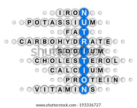 nutrition facts concept crossword puzzle - stock photo