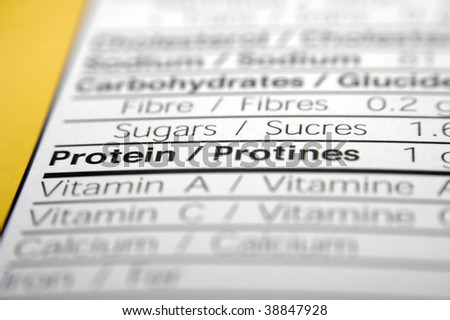 Nutrition facts focused on Protein. - stock photo