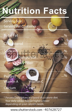 Nutrition Facts Medical Diet Nutritional Concept - stock photo