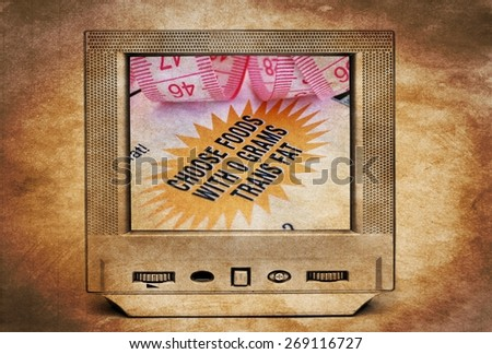 Nutrition facts on TV - stock photo