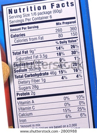 Nutrition label on blue box - stock photo