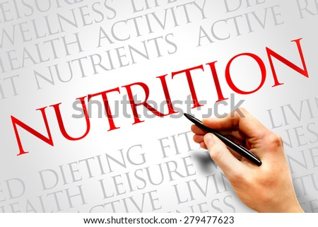 Nutrition word cloud, fitness, sport, health concept - stock photo