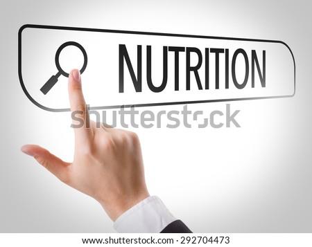 Nutrition written in search bar on virtual screen - stock photo