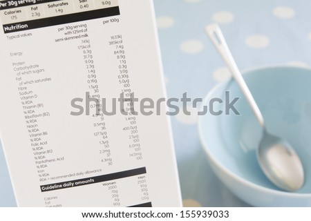 Nutritional Information On Side Of Cereal Packet - stock photo