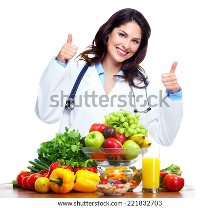 Nutritionist doctor woman isolated over white background - stock photo