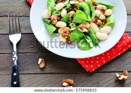 nutritious and healthy salad with beans, top view, food - stock photo