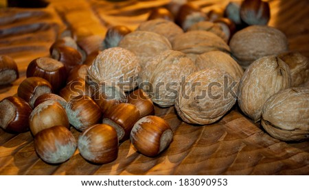 nutritious mixture of dried fruit, nuts and peanuts - stock photo