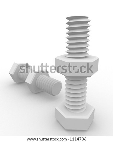 nuts and bolts isolated in white - stock photo