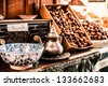 Nuts and dried fruit for sale in the souk of Fes, Morocco - stock photo