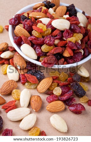 nuts and dried fruit in a bowl - stock photo
