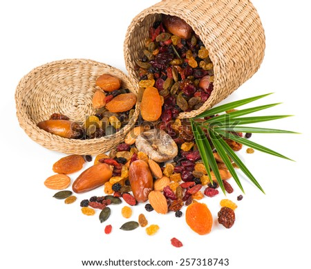 nuts and dried fruits mix a basket is scattered isolated on a on white background - stock photo