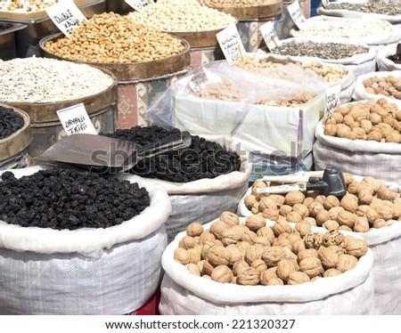 nuts at street market - stock photo