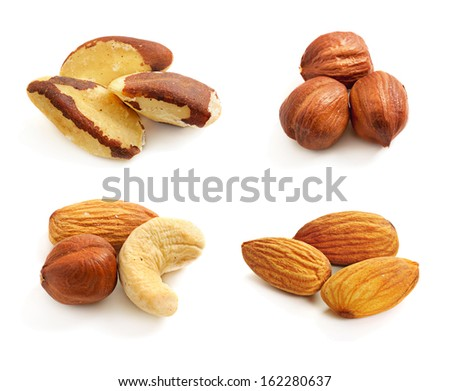 Nuts collection isolated on a white background - stock photo