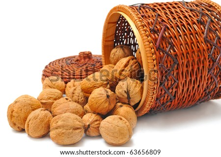 nuts in basket, isolated on a white background - stock photo