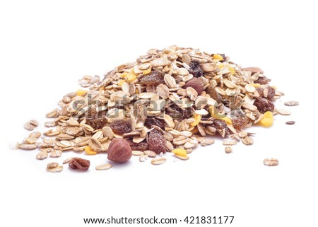 nuts mix oat cereals isolated - stock photo