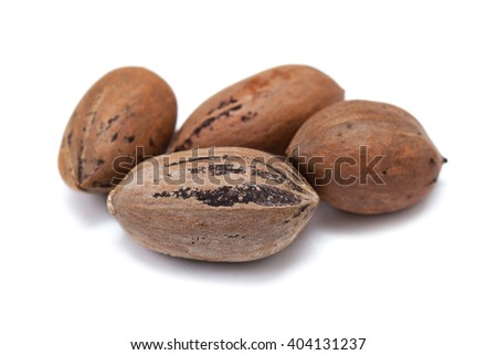 Nuts pecans in shell closeup isolated on white background - stock photo