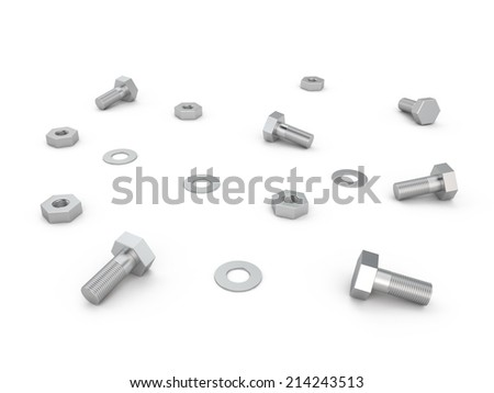 Nuts, screws and bolts on white background, 3D - stock photo