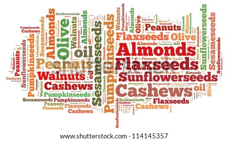 nuts seed and oil info-text graphics and arrangement concept on white background (word cloud) - stock photo