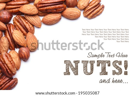 Nuts Set background with copyspace on a white background - stock photo