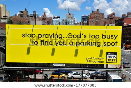 NY - AUG 4, 2013:  Parking lot billboard advertising sign at West 18th Street and 11th Avenue for Edison Park Fast - stock photo
