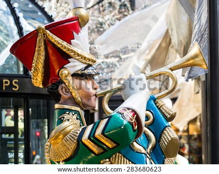 NY - Manhattan 31 dec 2014: soldier statue in front rockefeller center at christmas time in manhattan - stock photo