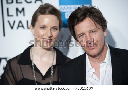 """NYC - APRIL 20 - Andrew McCarthy and Dolores Rices  arrives for the opening night of the Tribeca Film Festival and world premier of """"The Union"""" on April 20, 2011 in New York City, NY - stock photo"""