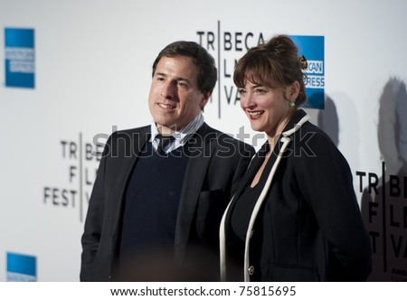"NYC - APRIL 20 - Director David O Russell and partner arrives for the opening night of the Tribeca Film Festival and world premier of ""The Union"" on April 20, 2011 in New York City, NY - stock photo"